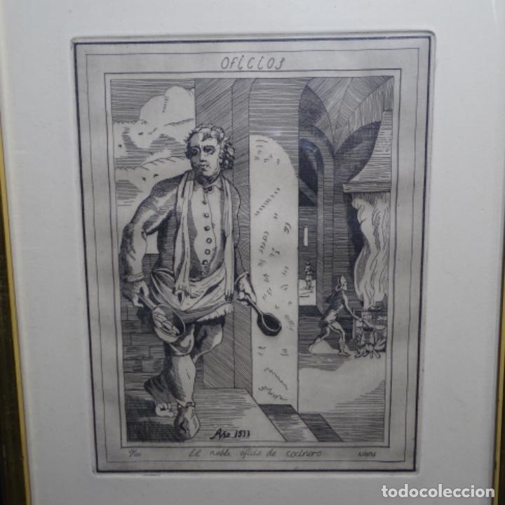 GRABADO FIRMADO A. SANTOS 46/100.EL NOBLE OFICIO DEL COCINERO.AÑO 1533. (Arte - Grabados - Contemporáneos siglo XX)
