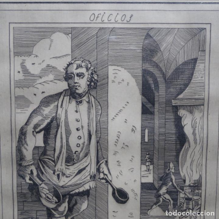 Arte: Grabado firmado a. Santos 46/100.el noble oficio del cocinero.año 1533. - Foto 3 - 196316671