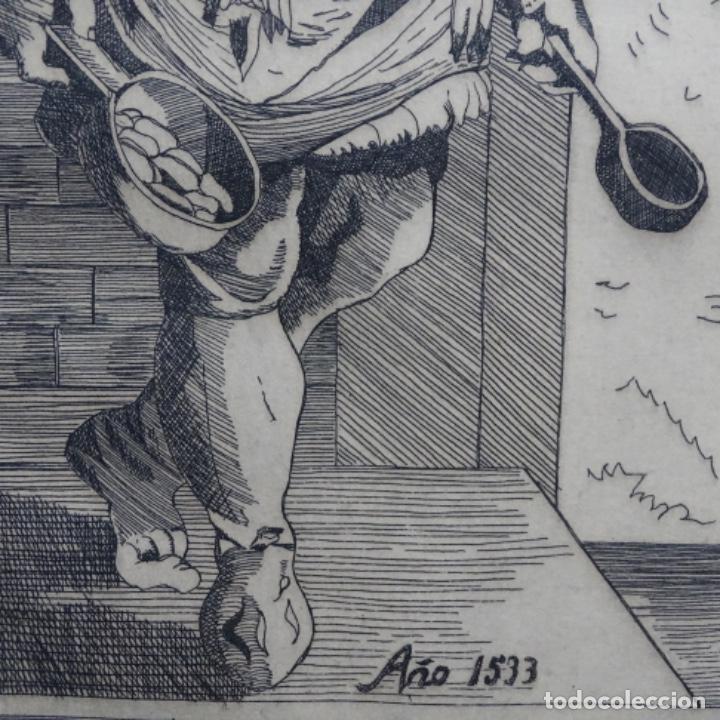 Arte: Grabado firmado a. Santos 46/100.el noble oficio del cocinero.año 1533. - Foto 6 - 196316671