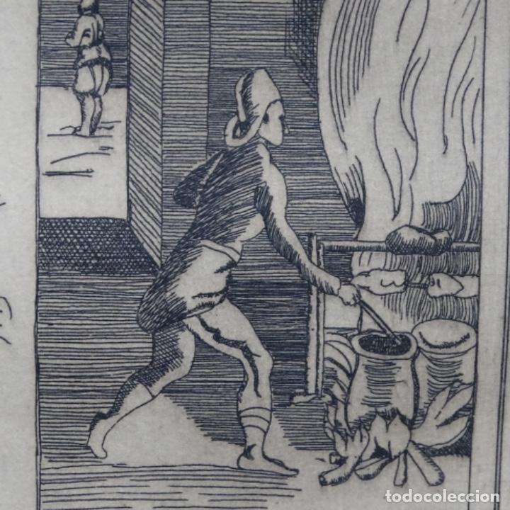 Arte: Grabado firmado a. Santos 46/100.el noble oficio del cocinero.año 1533. - Foto 7 - 196316671