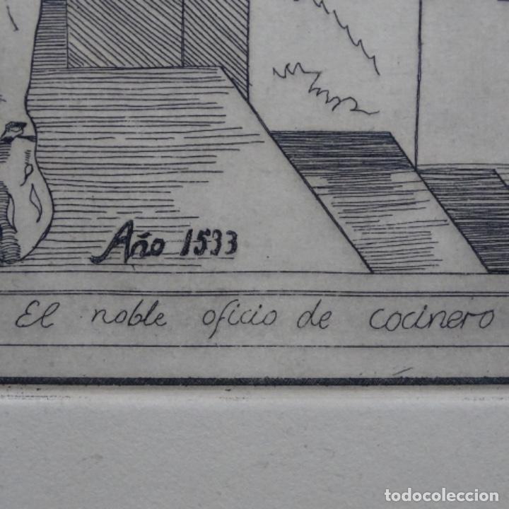 Arte: Grabado firmado a. Santos 46/100.el noble oficio del cocinero.año 1533. - Foto 9 - 196316671