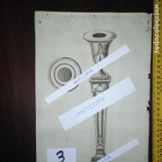 Arte: SIGLO 18 MAGNIFICO GRABADO ORIGINAL ORNAMENTACION DE CATALOGO DEFABRICANTE DE PLATERIA - CANDELABRO. Lote 196387248