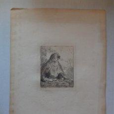 Arte: REMBRANDT. GRABADO AGUAFUERTE. MUJER CON MANTO. SIGLO XIX. ORIGINAL¡¡¡. Lote 196489603