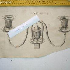 Arte: SIGLO 18 MAGNIFICO GRABADO ORIGINAL ORNAMENTACION DE CATALOGO FABRICANTE DE PLATERIA CANDELABRO. Lote 196636631