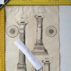 Arte: SIGLO 18 GRABADO ORIGINAL ORNAMENTACION DE CATALOGO FABRICANTE D PLATERIA TINTERO CANDELABRO LABRADO. Lote 196730728