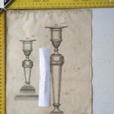 Arte: SIGLO 18 GRABADO ORIGINAL ORNAMENTACION DE CATALOGO FABRICANTE D PLATERIA TINTERO CANDELABRO LABRADO. Lote 196733296