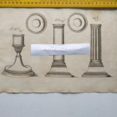 Arte: SIGLO 18 GRABADO ORIGINAL ORNAMENTACION DE CATALOGO FABRICANTE D PLATERIA TINTERO CANDELABRO LABRADO. Lote 196733396