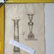 Arte: SIGLO 18 GRABADO ORIGINAL ORNAMENTACION DE CATALOGO FABRICANTE D PLATERIA TINTERO CANDELABRO LABRADO. Lote 196733457