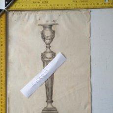 Arte: SIGLO 18 GRABADO ORIGINAL ORNAMENTACION DE CATALOGO FABRICANTE D PLATERIA TINTERO CANDELABRO LABRADO. Lote 196733503