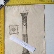 Arte: SIGLO 18 GRABADO ORIGINAL ORNAMENTACION DE CATALOGO FABRICANTE D PLATERIA TINTERO CANDELABRO LABRADO. Lote 196733653