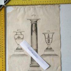 Arte: SIGLO 18 GRABADO ORIGINAL ORNAMENTACION DE CATALOGO FABRICANTE PLATERIA PORTAVELA CANDELABRO LABRADO. Lote 196740402