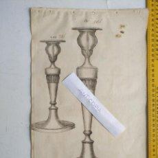 Arte: SIGLO 18 GRABADO ORIGINAL ORNAMENTACION DE CATALOGO FABRICANTE PLATERIA PORTAVELA CANDELABRO LABRADO. Lote 196740582