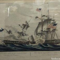 Arte: ANTIGUO GRABADO COLOREADO JEAN JEROME BAUGEAN FRAGATA INGLESA GUERRIERE Y AMERICANA USS CONSTITUTION. Lote 196779172