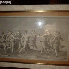 Arte: GRAN GRABADO DE LAS NUEVE MUSAS DE LA MITOLOGIA GRIEGA.76X43,5. CON MARCO 97X63-. Lote 196891518