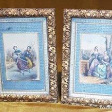 Arte: DOS ANTIGUOS GRABADOS, FRANCIA, MEDIADOS SIGLO XIX, EXCEPCIONAL TRABAJO DE ENMARCADO, 35 X 26,5 CM. Lote 196936055