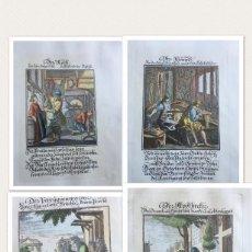Arte: COLECCIÓN DE CUATRO GRABADOS ALEMANES COLOREADOS SIGLO XVI TEMÁTICA OFICIOS. Lote 197294652