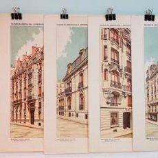Arte: 7 GRABADOS ORIGINALES, TRATADO DE ARQUITECTURA Y CONSTRUCCIONES MODERNAS DE DOMENÉC SUGRAÑÉS, 1916.. Lote 197385228