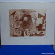 Arte: GRABADO DE ARTIGAU DEDICADO A JUAN PALOMES.1980.99/150.. Lote 197672906