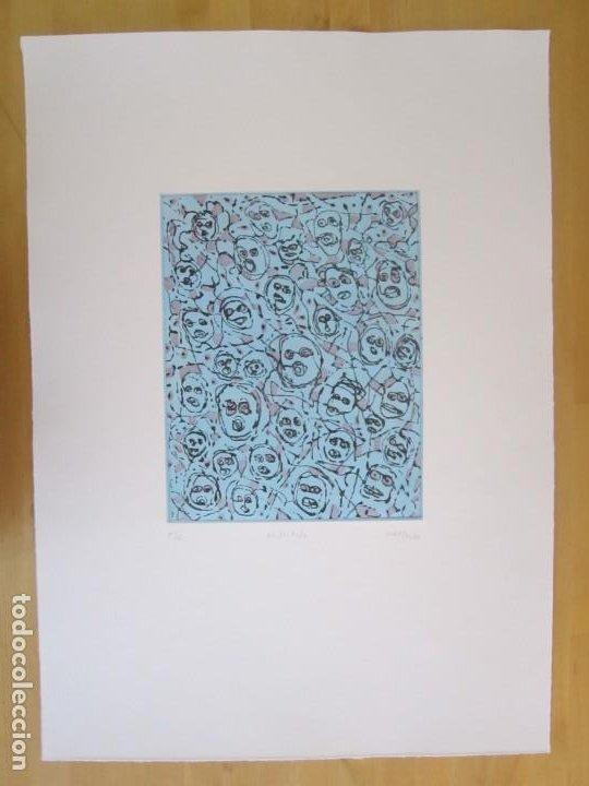 Arte: Multitude (Multitud) - Grabado de GAP (Guillermo Antón) - 50x70 cm Inspiración en Antonio Saura - Foto 6 - 197740046