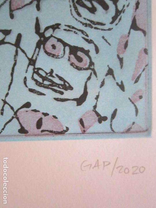 Arte: Multitude (Multitud) - Grabado de GAP (Guillermo Antón) - 50x70 cm Inspiración en Antonio Saura - Foto 3 - 197740046