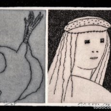 Arte: EDUARDO ARROYO LA NIÑA DE LA GALLINA GRABADO ORIGINAL NUMERADO FIRMADO LÁPIZ 69/75 HOMENAJ REMBRANDT. Lote 197868913