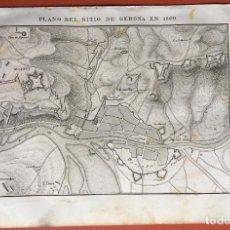 Arte: GRABADO - PLANO DEL SITIO DE GERONA EN 1809 - 245X158 MM - ORIGINAL. Lote 198064188
