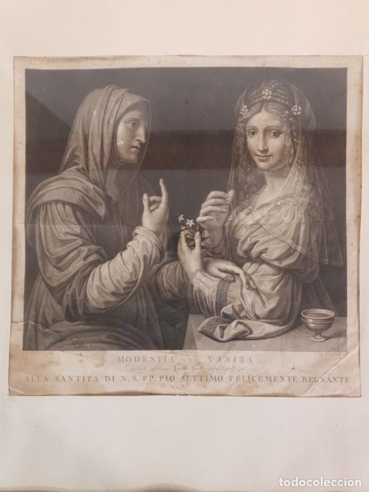 Arte: Grabado - Leonardo de Vinci - Modestia e Vanitá - Prof. Mallarini - Ang. Campanella inc - S. XVIII - Foto 2 - 198276957