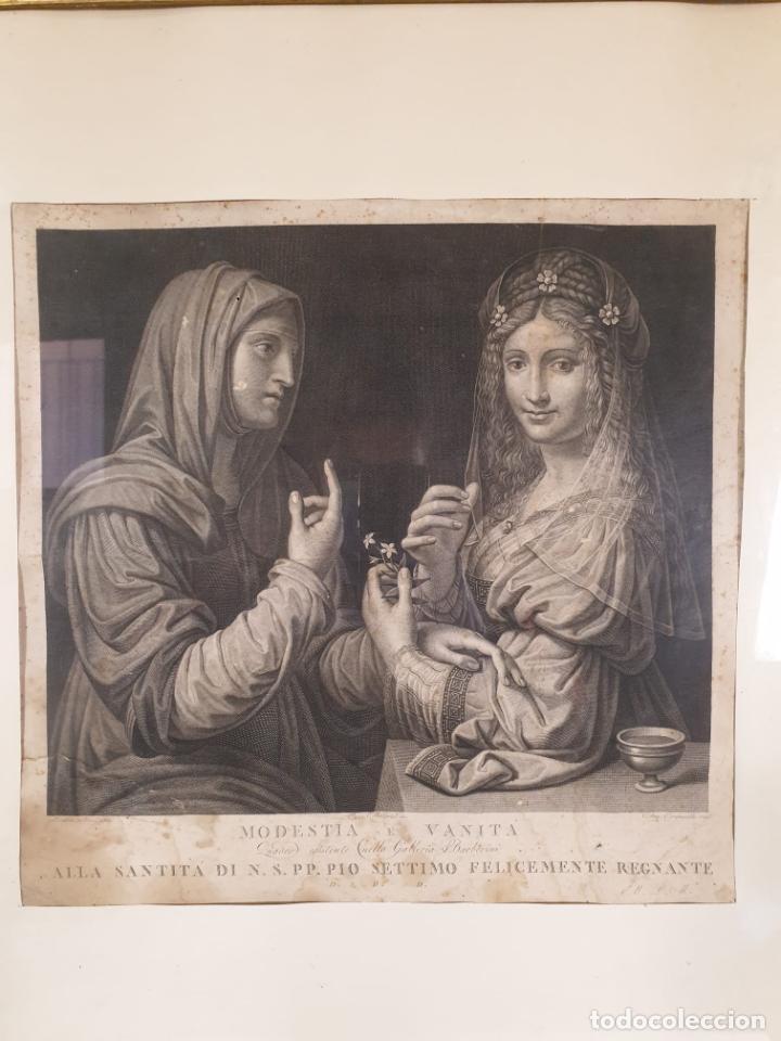 Arte: Grabado - Leonardo de Vinci - Modestia e Vanitá - Prof. Mallarini - Ang. Campanella inc - S. XVIII - Foto 5 - 198276957