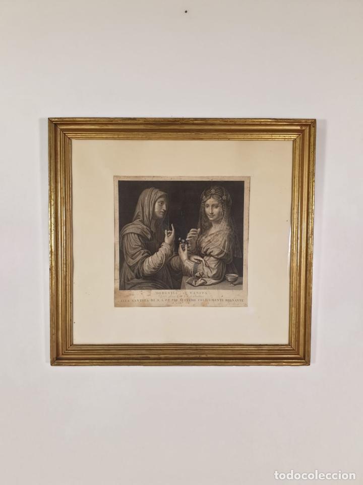 GRABADO - LEONARDO DE VINCI - MODESTIA E VANITÁ - PROF. MALLARINI - ANG. CAMPANELLA INC - S. XVIII (Arte - Grabados - Antiguos hasta el siglo XVIII)