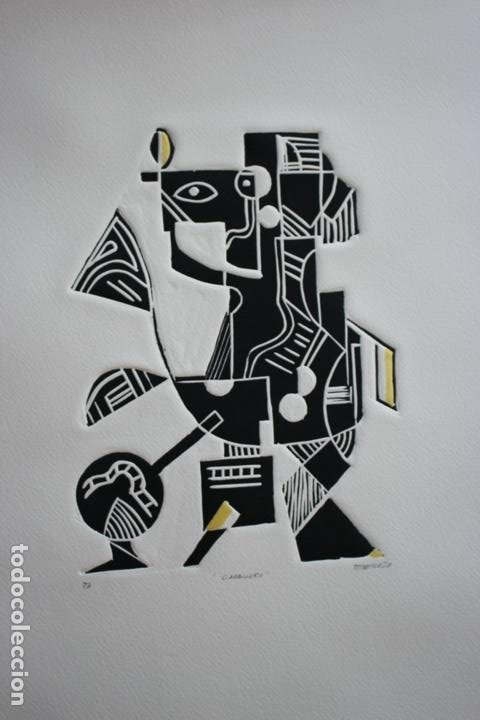 FJ CASTILLO MÁLAGA 1961 LINOGRABADO 39,5X53,5.PA. MUY BUEN ESTADO.EL CABALLERO. (Arte - Grabados - Contemporáneos siglo XX)