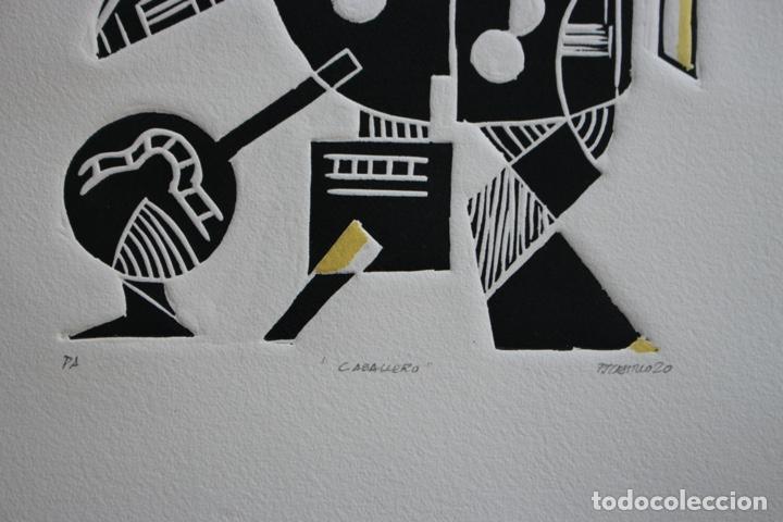 Arte: FJ Castillo Málaga 1961 Linograbado 39,5x53,5.PA. Muy buen estado.El caballero. - Foto 5 - 198338173
