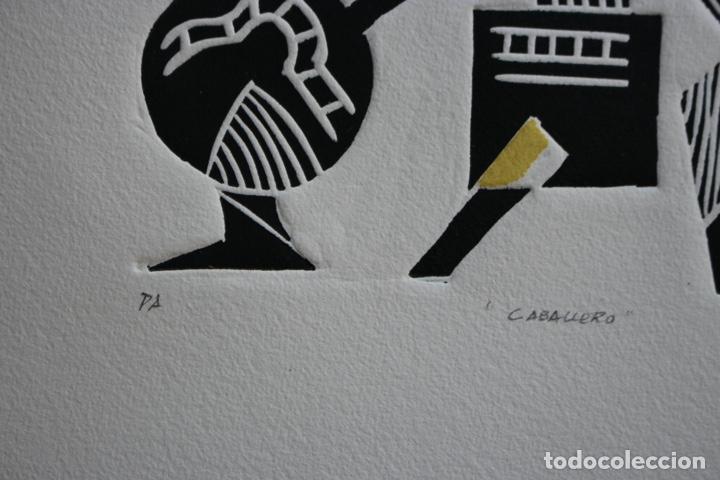 Arte: FJ Castillo Málaga 1961 Linograbado 39,5x53,5.PA. Muy buen estado.El caballero. - Foto 6 - 198338173
