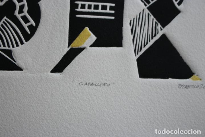 Arte: FJ Castillo Málaga 1961 Linograbado 39,5x53,5.PA. Muy buen estado.El caballero. - Foto 7 - 198338173