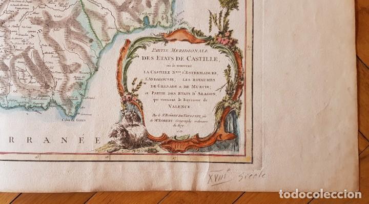 Arte: Mapa de España Meridional 1751. R.Vaugondy - Foto 2 - 198507901