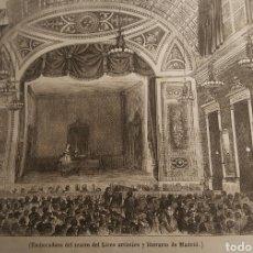 Arte: EXCEPCIONAL GRABADO 1845. ORIGINAL 17 X 14 CM. TEATRO LICEO DE MADRID . EL SIGLO PINTORESCO. Lote 198567713