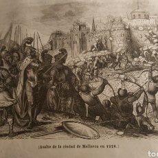 Arte: EXCEPCIONAL GRABADO 1845. ORIGINAL 17 X 10 CM. ASALTO A MALLORCA EN 1228. EL SIGLO PINTORESCO. Lote 198567865
