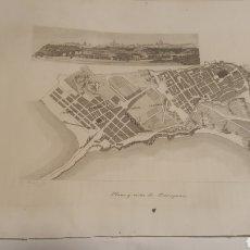 Arte: EXCELENTE GRABADO ORIGINAL 1864. 23 X 16 CM. PLANO Y VISTA DE TARRAGONA. Lote 198952483