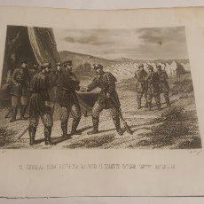Arte: EXCELENTE GRABADO ORIGINAL 1864. 23 X 16 CM. PRIM SALUDANDO ANICETO MASENLLAN. Lote 198952686