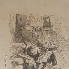 Arte: EXCELENTE GRABADO ORIGINAL DEL VIAJE ILUSTRADO. 1853. 16 X 7 CM. CARGUERAS PAIS VASCO. Lote 198956878