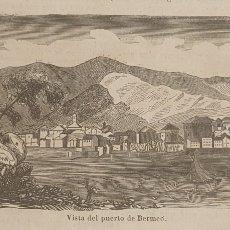 Arte: EXCELENTE GRABADO ORIGINAL DEL VIAJE ILUSTRADO. 1853. 16 X 7 CM. PUERTO DE BERMEO. Lote 198956905