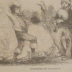 Arte: EXCELENTE GRABADO ORIGINAL DEL VIAJE ILUSTRADO. 1853. 16 X 8 CM. COSTUMBRES DE LOS ASTURES. ASTURIAS. Lote 198956978