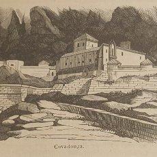 Arte: EXCELENTE GRABADO ORIGINAL DEL VIAJE ILUSTRADO. 1853. 16 X 7 CM. COVADONGA. Lote 198957055