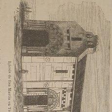 Arte: EXCELENTE GRABADO ORIGINAL DEL VIAJE ILUSTRADO. 1853. 16 X 7 CM.IGLESIA DE SAN MARTIN EN TIOBRE.. Lote 198957205