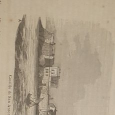 Arte: EXCELENTE GRABADO ORIGINAL DEL VIAJE ILUSTRADO. 1853. 16 X 7 CM. CASTILLO SAM ANTON. CORUÑA. Lote 198957340