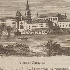 Arte: EXCELENTE GRABADO ORIGINAL DEL VIAJE ILUSTRADO. 1853. 16 X 7 CM. VISTA DE ZARAGOZA. Lote 198957923