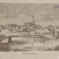 Arte: EXCELENTE GRABADO ORIGINAL DEL VIAJE ILUSTRADO. 1853. 16 X 7 CM. VISTA DE HUESCA. Lote 198958051