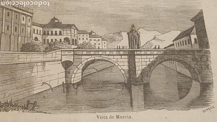 EXCELENTE GRABADO ORIGINAL DEL VIAJE ILUSTRADO. 1853. 16 X 7 CM. VISTA DE MURCIA (Arte - Grabados - Modernos siglo XIX)