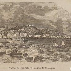 Arte: EXCELENTE GRABADO ORIGINAL DEL VIAJE ILUSTRADO. 1853. 16 X 7 CM. VISTA DE MALAGA. Lote 198958986