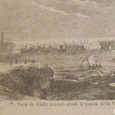 Arte: EXCELENTE GRABADO ORIGINAL DEL VIAJE ILUSTRADO. 1853. 16 X 7 CM. VISTA DE CADIZ. Lote 198959283