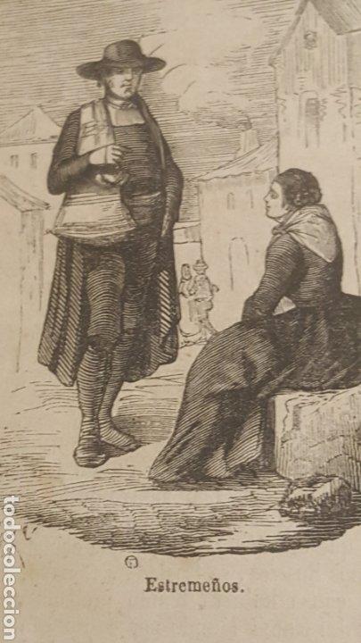 EXCELENTE GRABADO ORIGINAL DEL VIAJE ILUSTRADO. 1853. 10 X 8 CM. TIPOS DE EXTREMADURA (Arte - Grabados - Modernos siglo XIX)